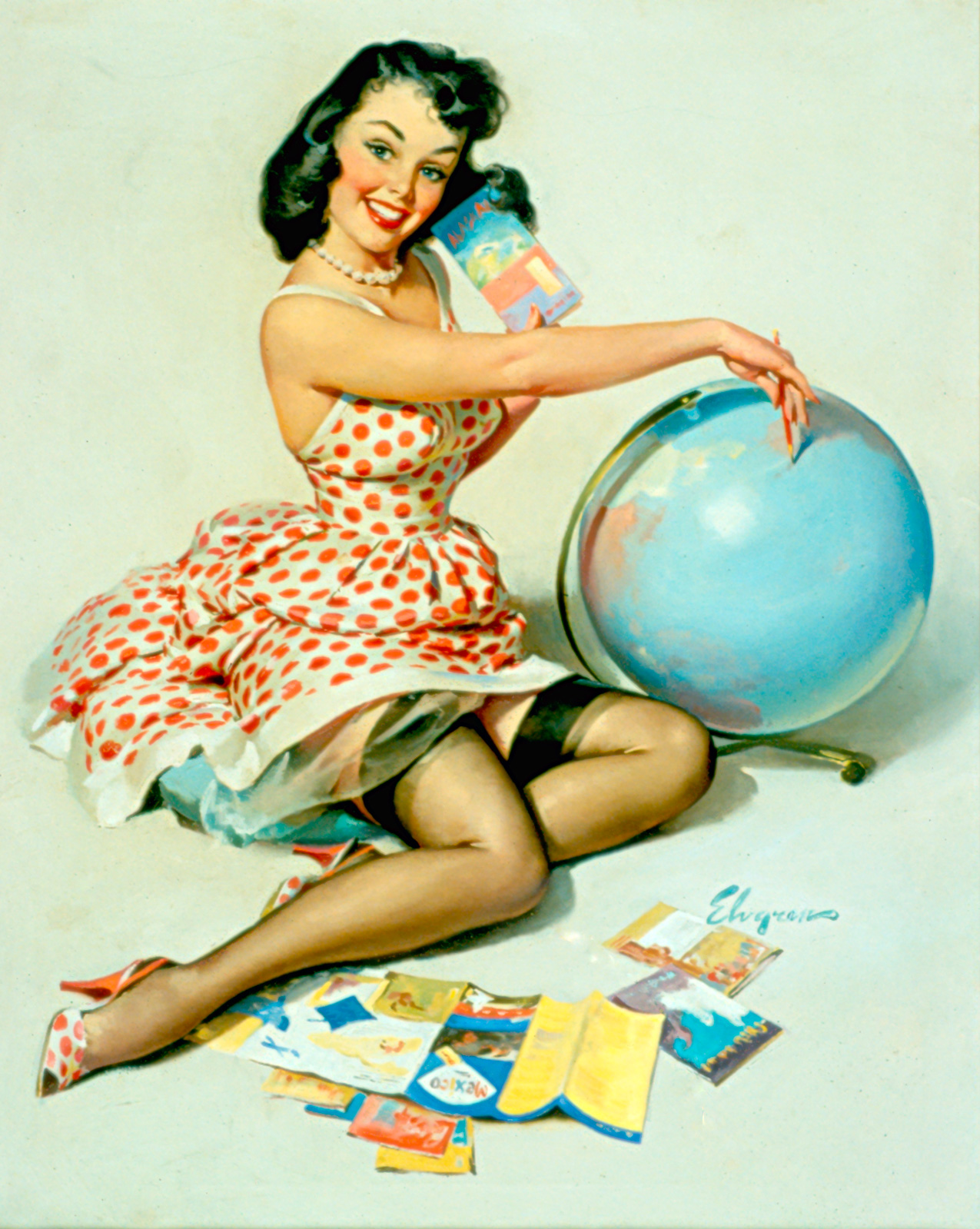 gil elvgren painting detail. Black Bedroom Furniture Sets. Home Design Ideas